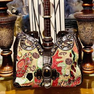 Mary Frances Large Leather & Beaded Shoulder Bag